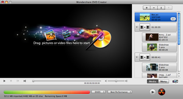 DVD Creator for Mac, Mac DVD Burner - Main Screenshot